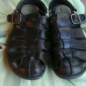 MERRILL MEN'S DARK BROWN LEATHER SANDALS SIZE 10